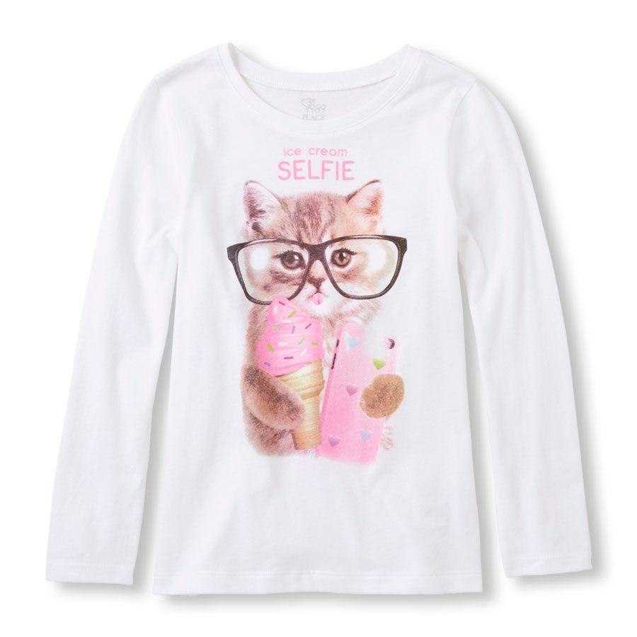 Girls Long Sleeve Ice Cream Selfie Cat Graphic Tee
