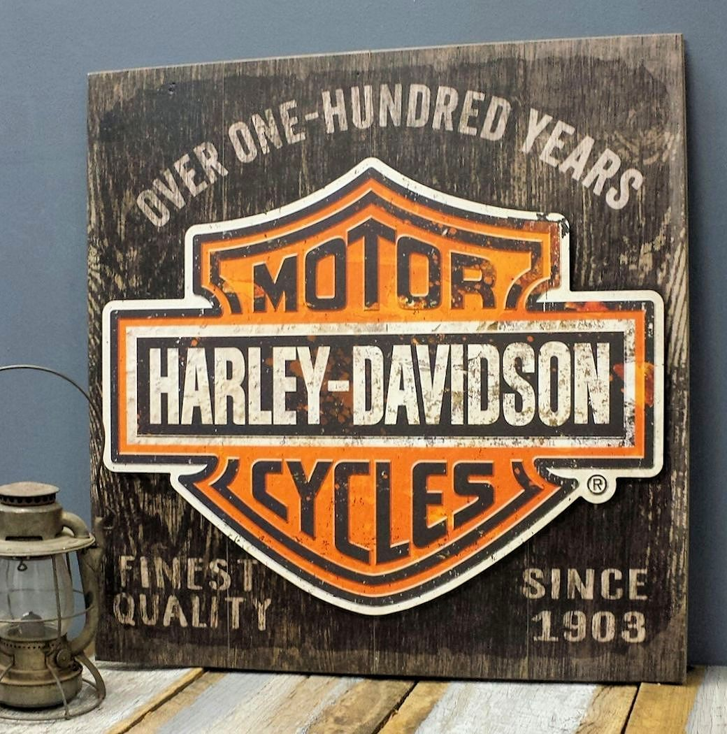 harley-davidson personalized wood sign with 3-d metal headlights