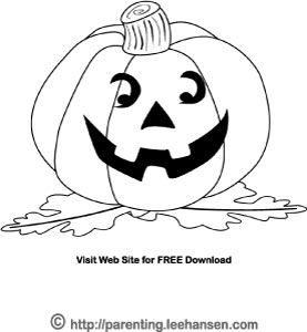 Happy Pumpkin Face Halloween Jack O Lantern Coloring Page