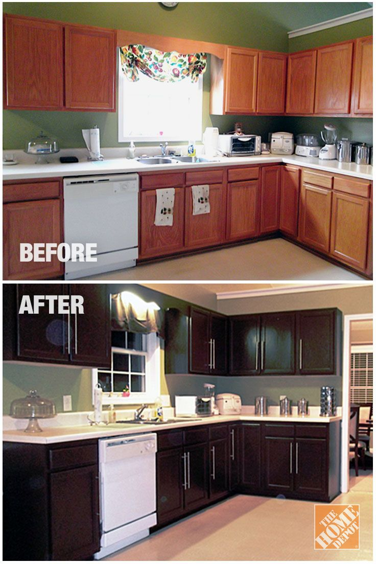 The Paint Makeover On These Cabinets Makes For An Amazing Before And After Learn How Rust Oleum Did Wonders This Kitchen Home Depot Blog