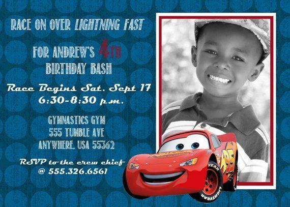 Disney Cars 2 Lightning McQueen Birthday Invitation 5x7