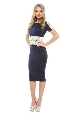 Lace Sleeve Overlay Navy Midi | Gorgeous clothes, Navy