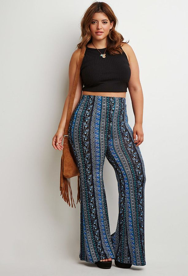 87aafb440c9 Love! Plus Size Floral Paisley Flared Pants