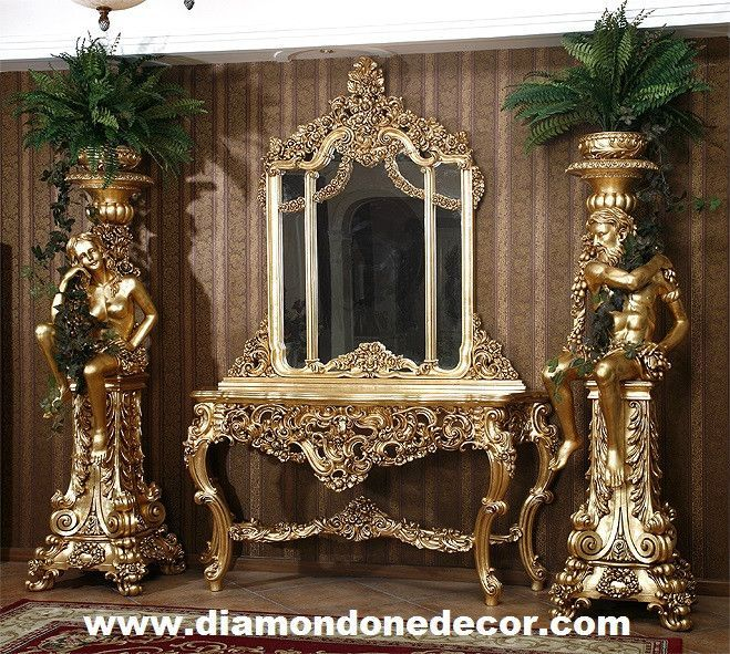 stunning baroque french reproduction console table and mirror baroque console tables and rococo. Black Bedroom Furniture Sets. Home Design Ideas