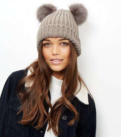 Mink Double Faux Fur Pom Pom Hat  51cf3612a37