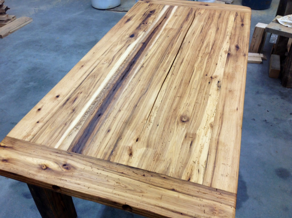 recycled hickory barn wood table top reclaimed wood michigan resized 600 - Recycled Hickory Barn Wood Table Top Reclaimed Wood Michigan