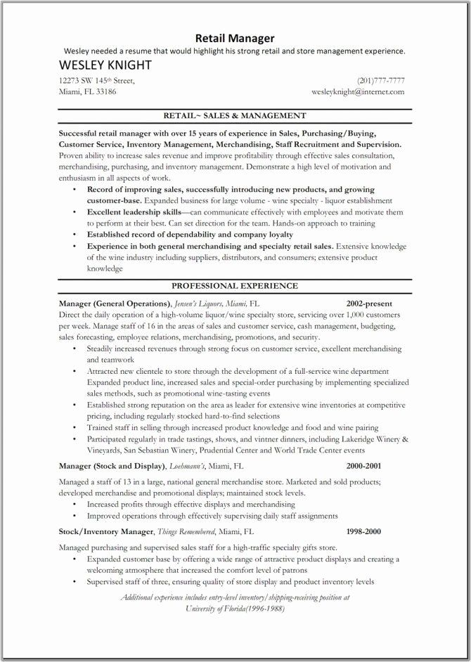 23 Retail Store Manager Resume Example in 2020 Retail
