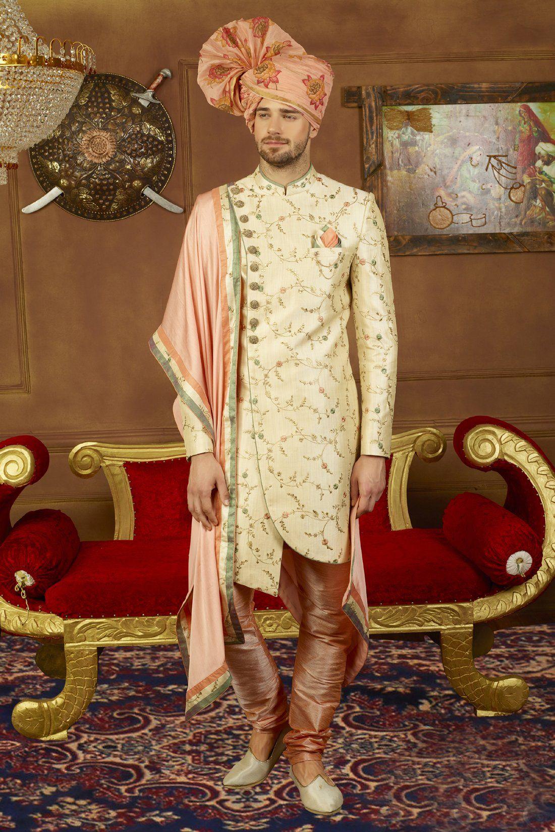 Cream And Peach Mens Sherwani Wedding Dresses Men Indian Mens