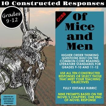 Of mice and men constructed responses and higher order thinking of mice and men constructed responses higher order thinking ccss use all fandeluxe Choice Image