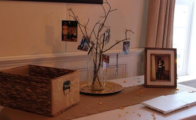 Guest table with photos, guest book and card basket