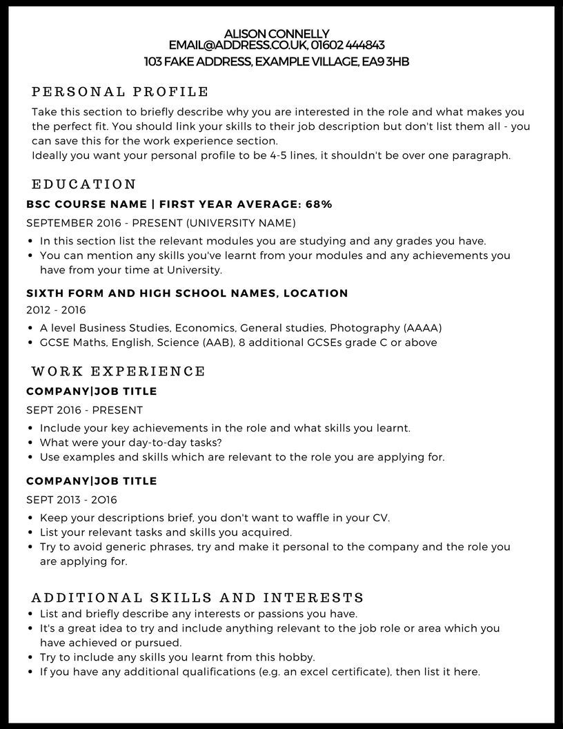 Cv Template Uk Student Resume Examples Writing A Cv Cv Template Uk Cv Examples