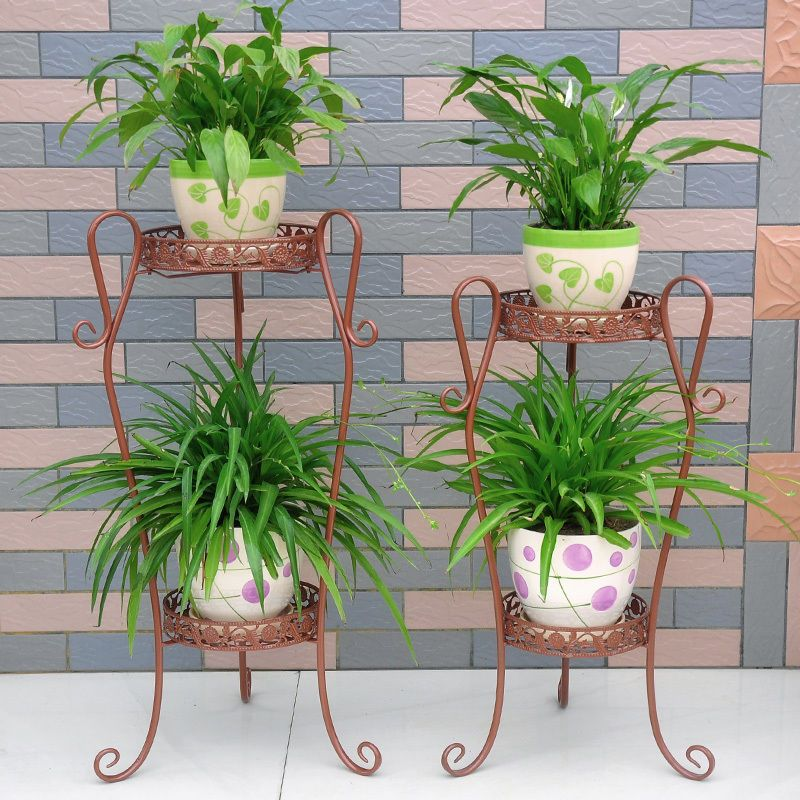 Wrought Iron Flower Plant Stand 2 Tier Floor Standing Pastoral Style 3 Color Tanaman Bunga Mebel #plant #stand #for #living #room