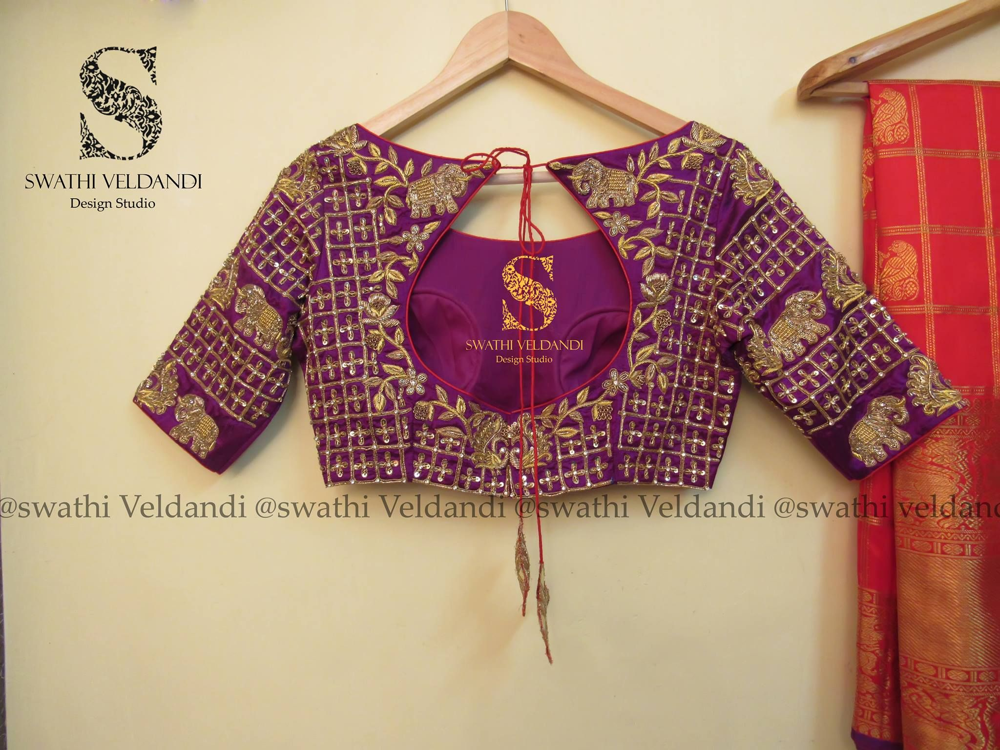 4a3a76e55fab69 Beautiful purple color designer blouse with elephant floret lata design  hand embroidery thread work. 20 October 2017