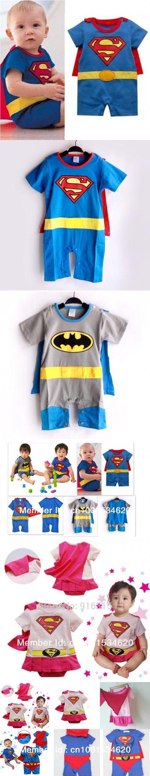 4 sets Superman Batman Baby Romper Short Sleeve Baby Clothing Sets Dress Smock Infant Costume Cartoon Wear