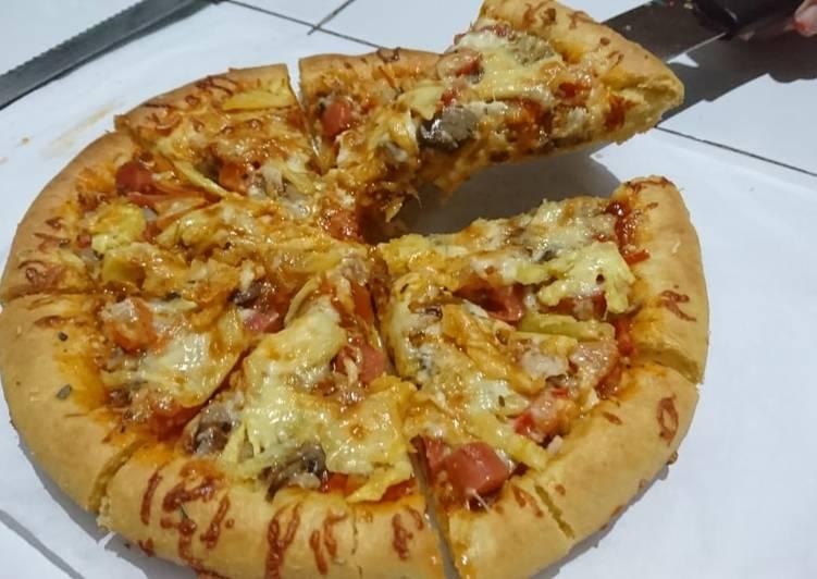 Resep Pizza Sosis Mozzarella Enak Best Recipes Resep Resep Makanan Makanan Sosis