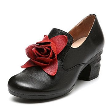 39cc3705ad8de Designer SOCOFY Sooo Comfy Vintage Handmade Floral Ankle Leather Boots -  NewChic Mobile.