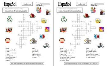 spanish interrogatives crossword and image ids worksheet. Black Bedroom Furniture Sets. Home Design Ideas