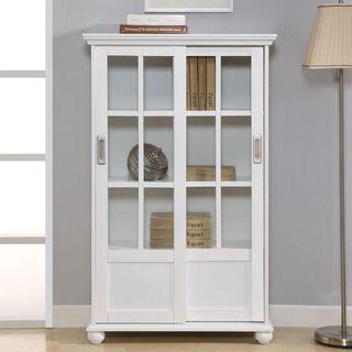 Ameriwood Altra White Sliding Glass Doors Bookcase