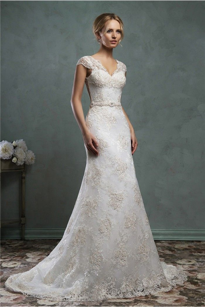 Fitted A Line Cap Sleeve Sheer Back Vintage Lace Wedding Dress ...