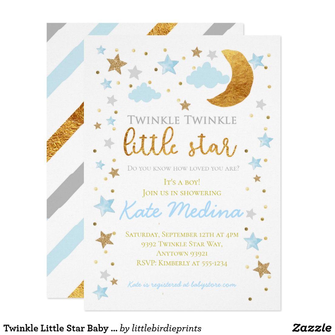 Twinkle Little Star Baby Shower Invitation Boy Blu Zazzle Com Star Baby Shower Invitations Blue Baby Shower Invitations Baby Shower Invitations For Boys