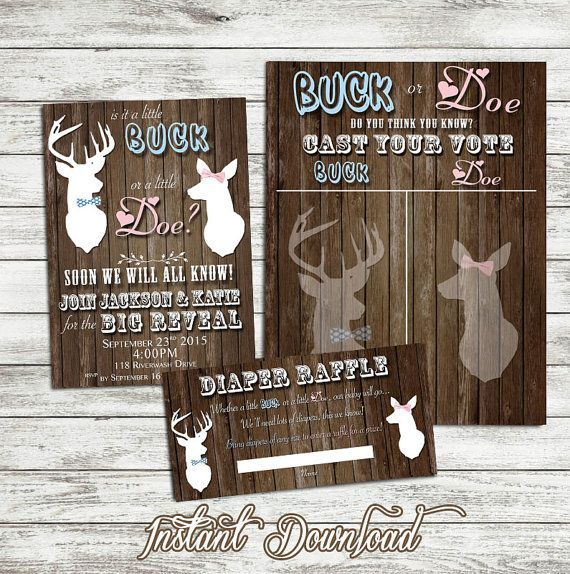 Buck or Doe Gender Reveal Invitation Buck by LaughingWillowDesign