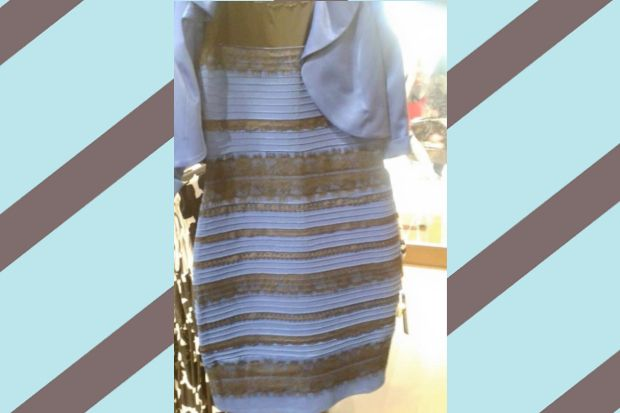 Yellow and gold dress illusion color