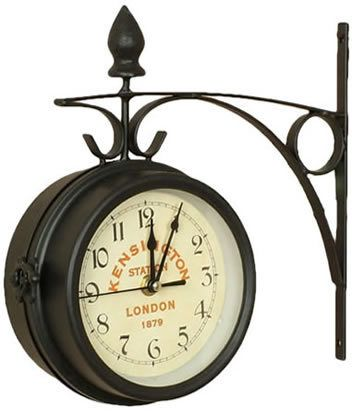 vintage london style kensington train station 2 sided battery powered clock