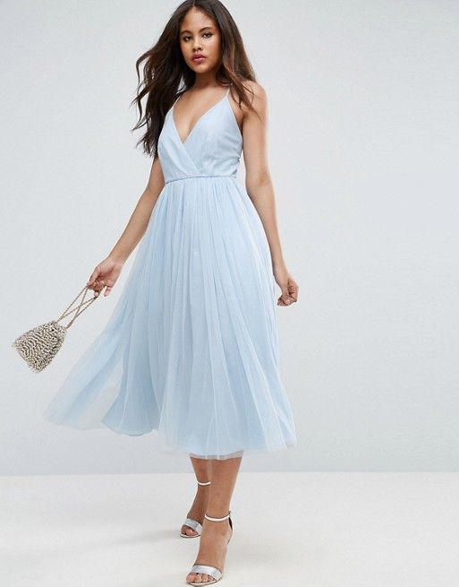 Light blue, knee-length bridesmaid dress with a tulle skirt. | ASOS ...