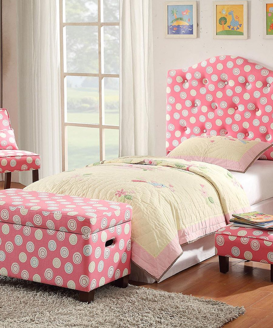 Surprising Look At This Pink Polka Dot Swirl Deluxe Storage Bench On Andrewgaddart Wooden Chair Designs For Living Room Andrewgaddartcom