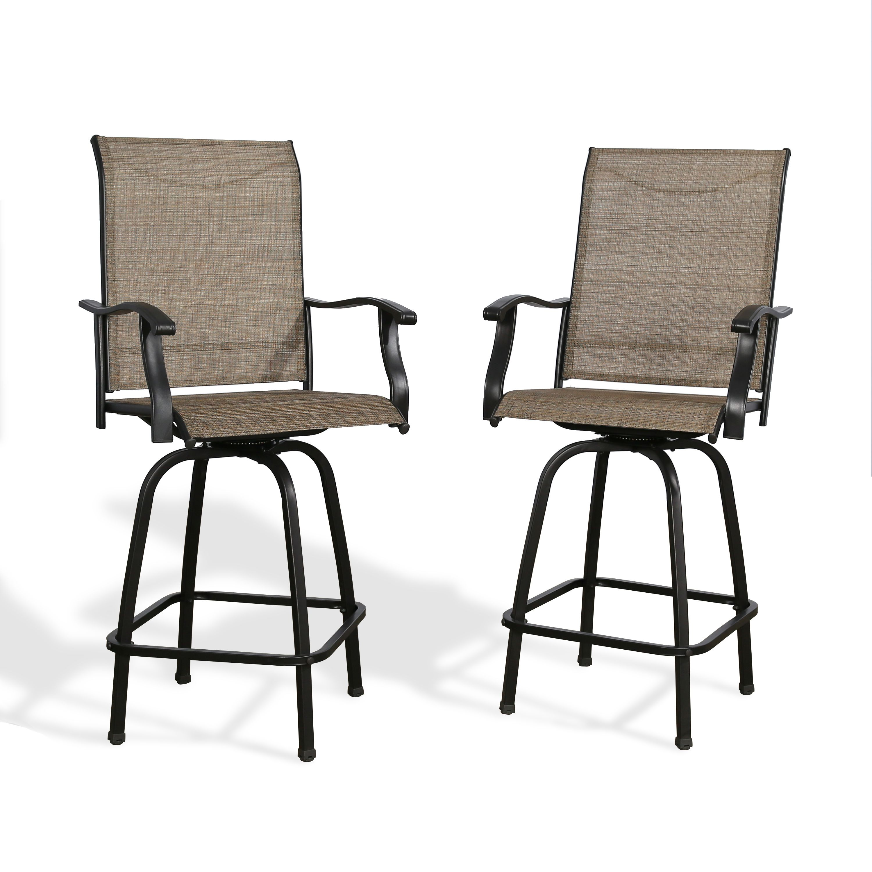 Ulax Furniture Outdoor 2 Piece Swivel Bar Stools High Patio Chairs With Sling Seat Walmart Com In 2021 Outdoor Bar Stools Swivel Bar Stools Patio Chairs