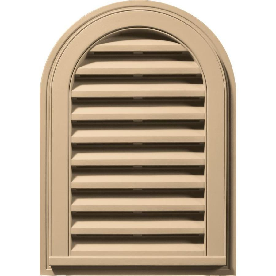 Builders Edge 16 In X 24 In Sandstone Maple Round Top Vinyl Gable Vent Lowes Com In 2020 Gable Vents Builders Edge Louver Vent