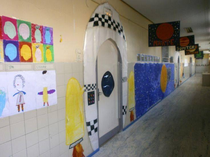 Decoraci n pasillo escolar tem tica el espacio nave for Decoracion el universo del hogar