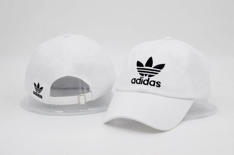 57a63008366 Men s   Women s Unisex Adidas Originals Trefoil 3D Embroidery Logo Baseball Adjustable  Strap Back Hat - White