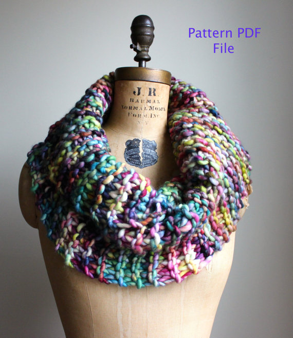 Instant Download Super Snuggly Chunky Knit Cowl Pattern Knit Cowl