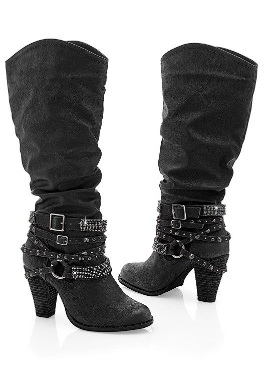 ba7526a59b241 STUDDED BUCKLE BOOT, RUFFLE DETAIL JACKET, COLOR SKINNY JEANS Shoes Boots  Ankle, High
