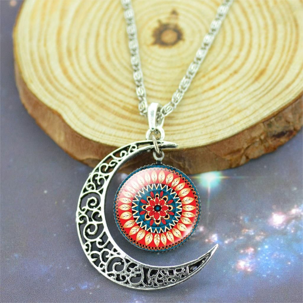 Moon pendant necklace vintage silver color mandala jewelry mandala moon pendant necklace vintage silver color mandala jewelry mandala necklace mandala pendant charm aloadofball Choice Image