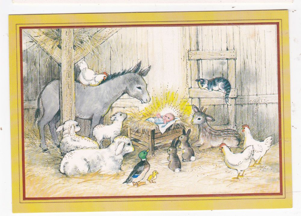 7c6bb82ca365ba Vintage Christmas Greeting Cards Lot of 7 Gibson Animals in the Manger  Scene Cat