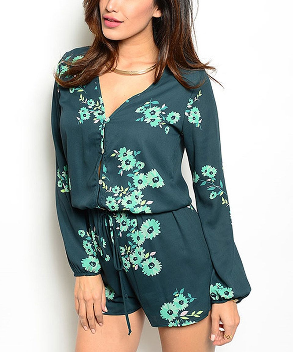 Look at this #zulilyfind! Green Floral Button-Up Romper by Buy in America #zulilyfinds