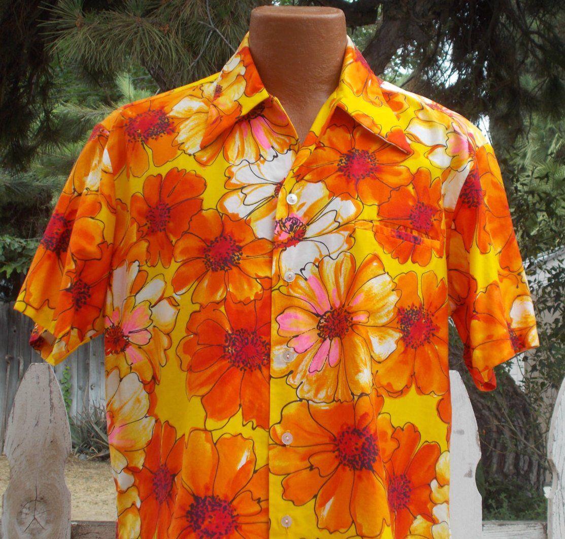 Size L Vintage orange hawaii shirt retro floral button down