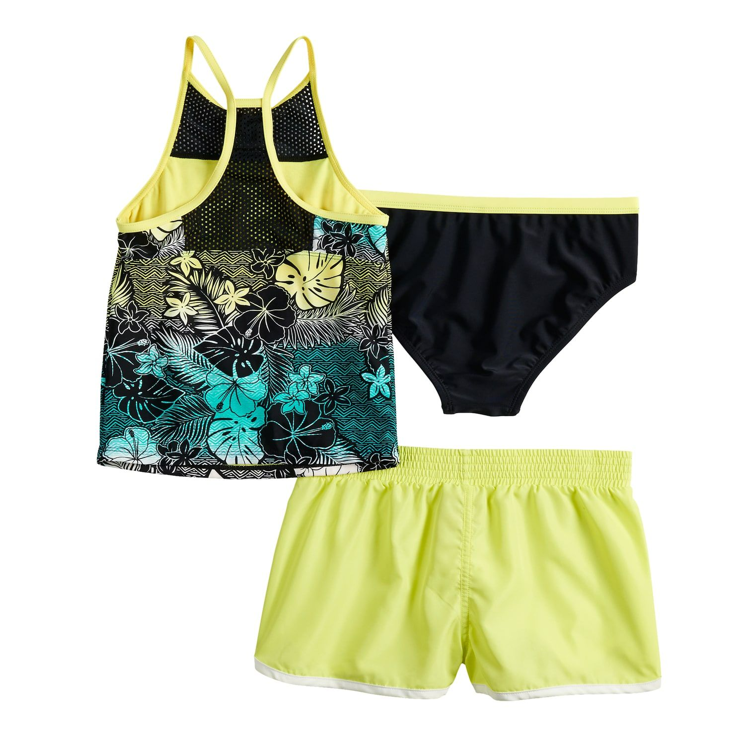 d254b0bad8 Girls 7-16 ZeroXposur Tropical Wave Tankini Top, Bottoms & Shorts Swimsuit  Set #