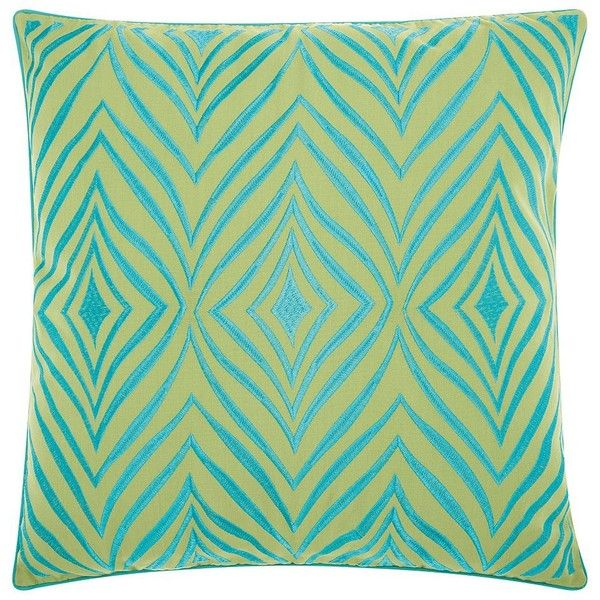 Mina Victory Wild Chevron Indoor / Outdoor Throw Pillow ($47) ❤ liked on Polyvore featuring home, home decor, throw pillows, green, geometric throw pillows, outdoor accent pillows, green toss pillows, outdoor pillows and green home decor