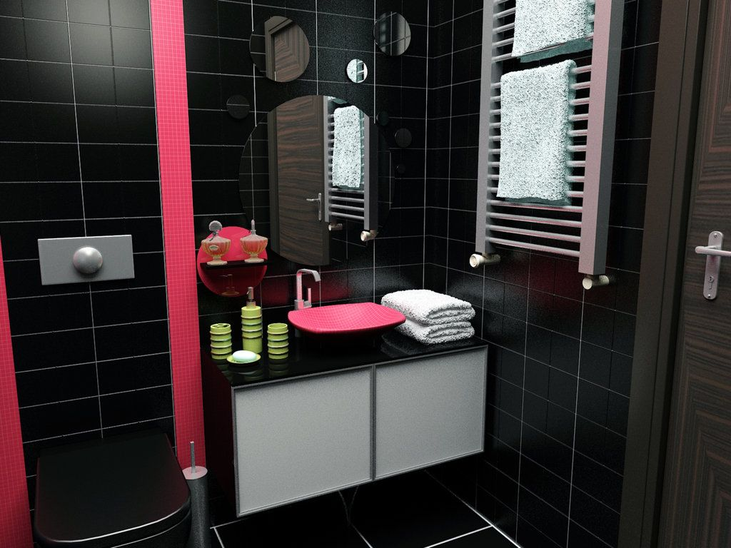 black white and gray bathroom decor | small black bathroom