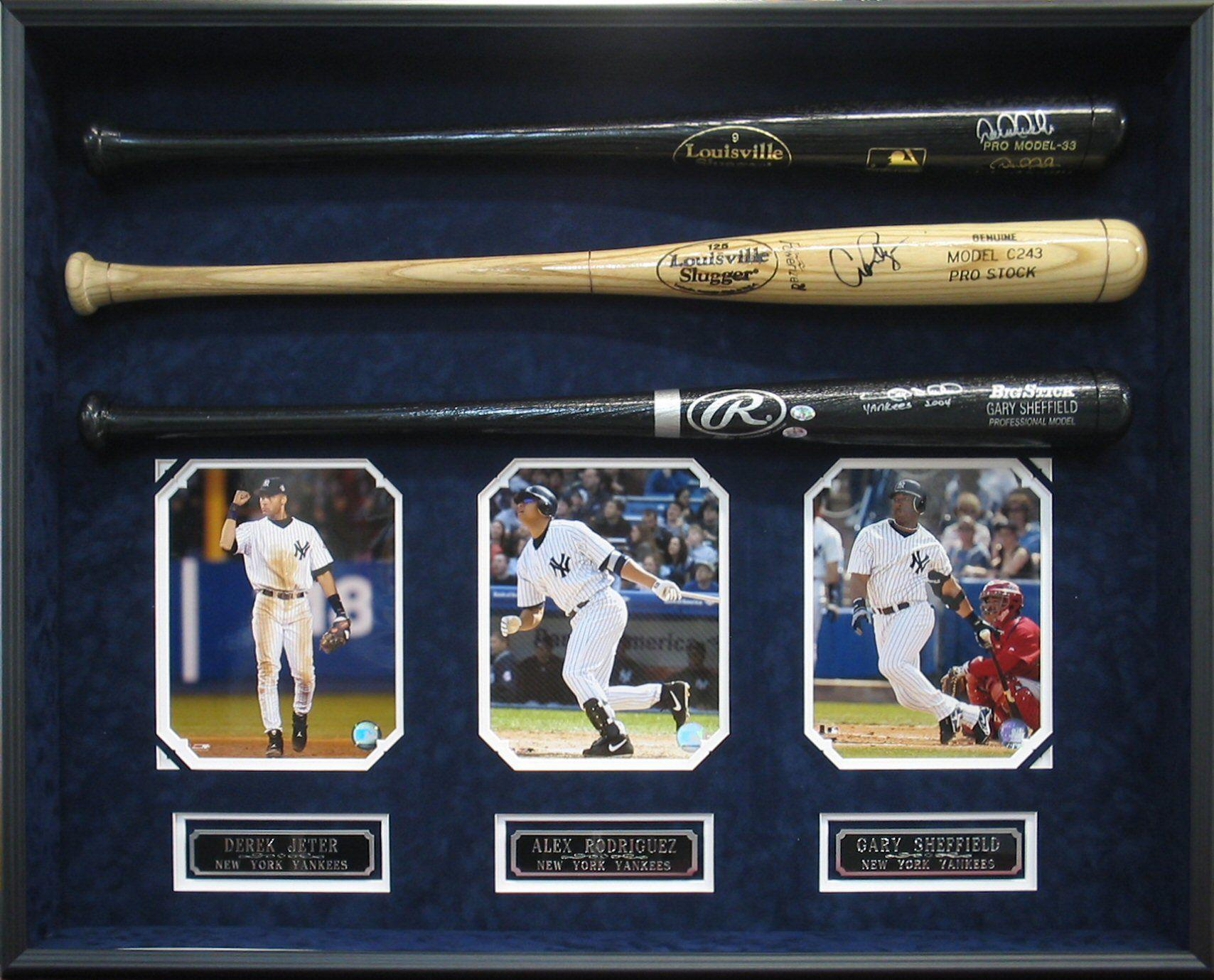 Color sheets derek jeter - Derek Jeter Alex Rodriguez And Gary Sheffield Autographed Baseball Shadowbox Yankees Mlb