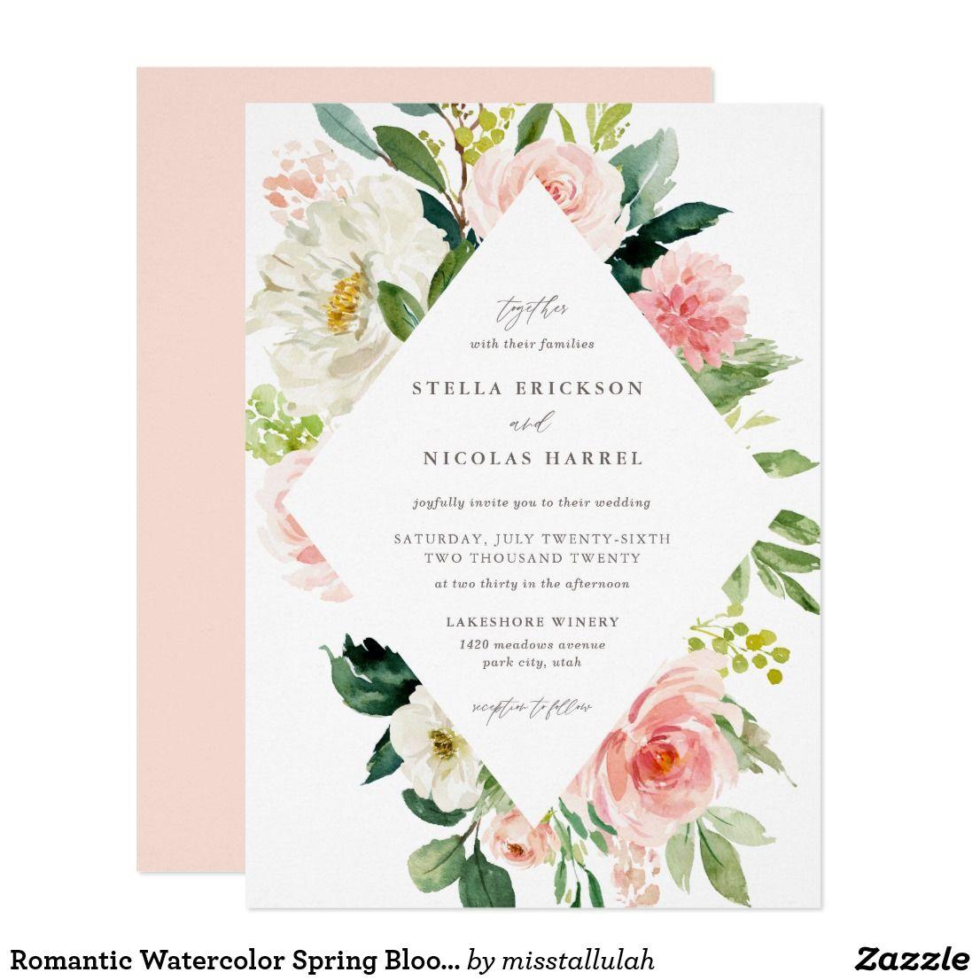 Romantic Watercolor Spring Blooms Wedding Invitation | Zazzle.com | Floral  wedding invitations, Gold wedding invitations, Gold bridal shower  invitations