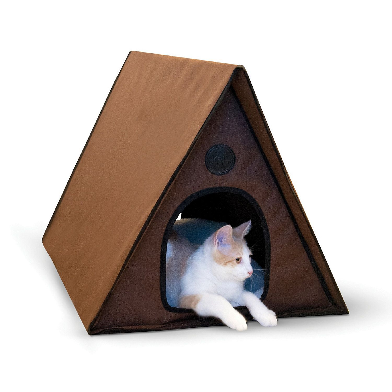 K H Chocoloate Outdoor Heated A Frame Cat Bed 35 L X 20 5 W Petco Cat Bed Outdoor Cat House Cats