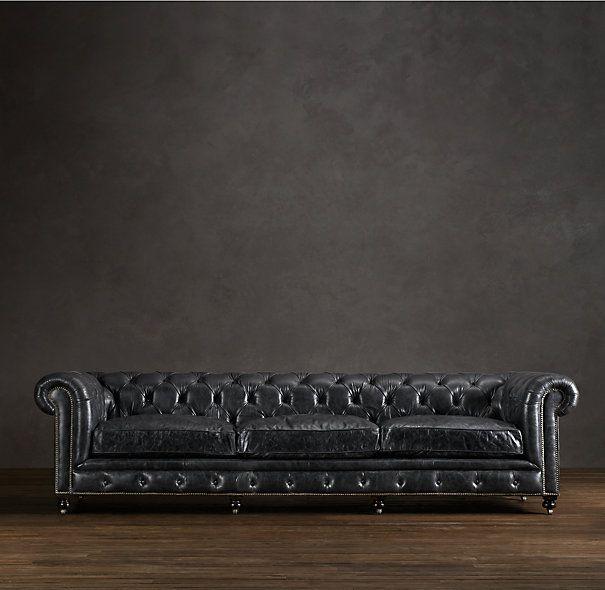 Image Result For Black Tufted Restoration Hardware Sofa Distressed Leather