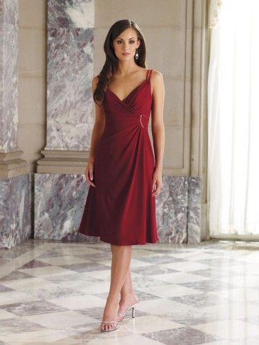 Satin Spaghetti Straps V-neck Faux Wrap Empire Bodice A-line Bridesmaids Dress