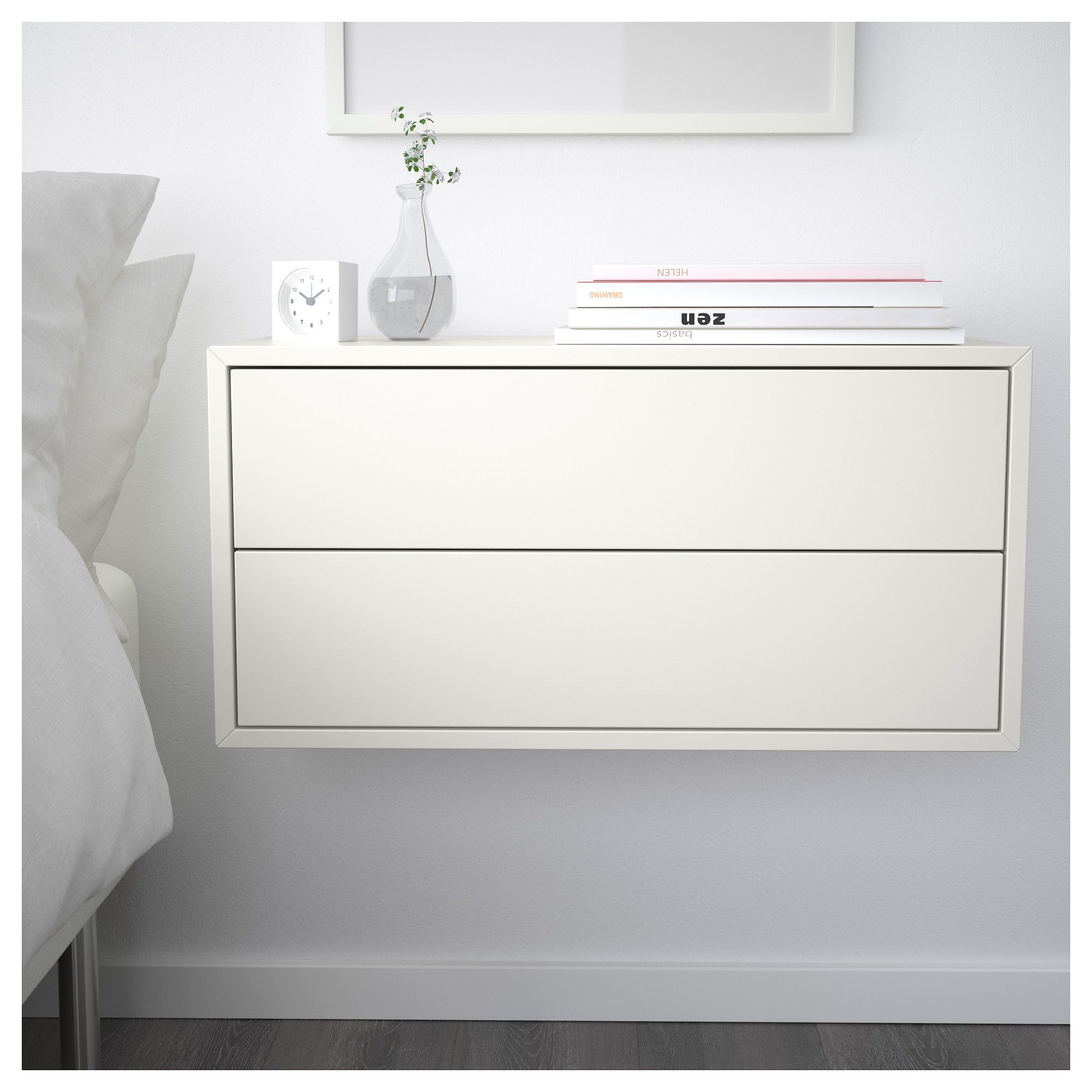 One Drawer White Nightstand