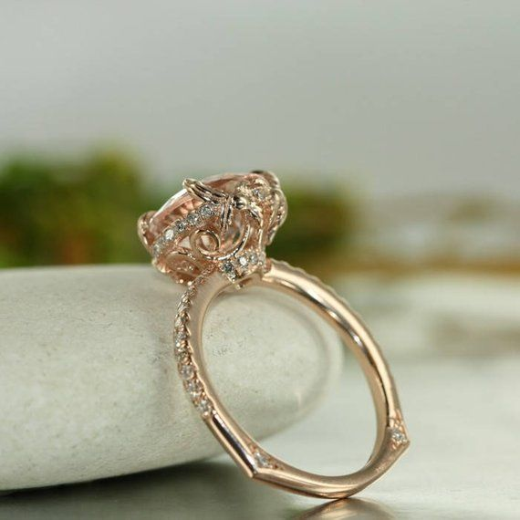 Love Flow 10mm Round Morganite And Vs Diamond In 14k Rose Gold Engagement Ring Single Claw Prong
