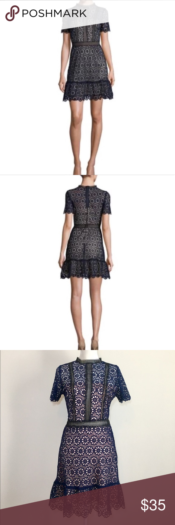 Design Lab Lordtaylor Navy Lace Dress Size Lm Clothing